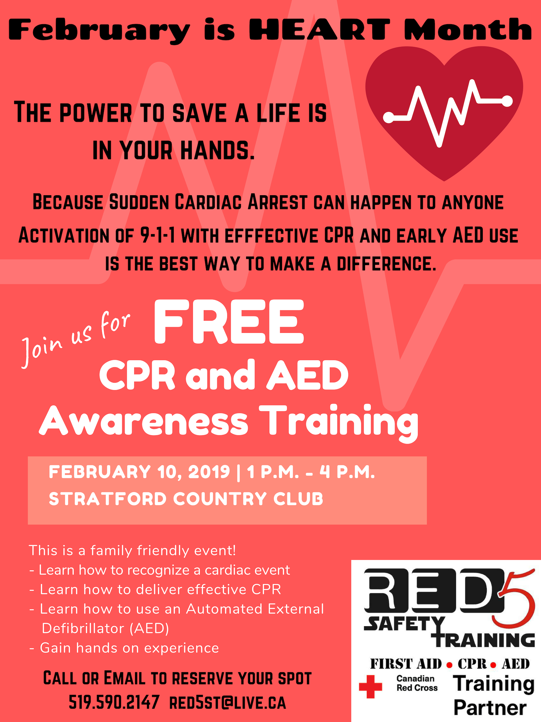 Free Cpr And Aed Awareness Session Red5 Safety Training